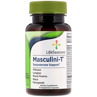 LifeSeasons, Masculini-T, Testosterone Support, 15 Vegetarian Capsules