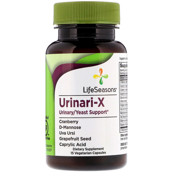LifeSeasons, Urinari-X Urinary/Yeast Support, 15 Vegetarian Capsules