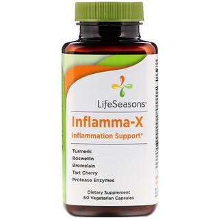 LifeSeasons, インフラマ-X、炎症サポート、植物性カプセル60錠