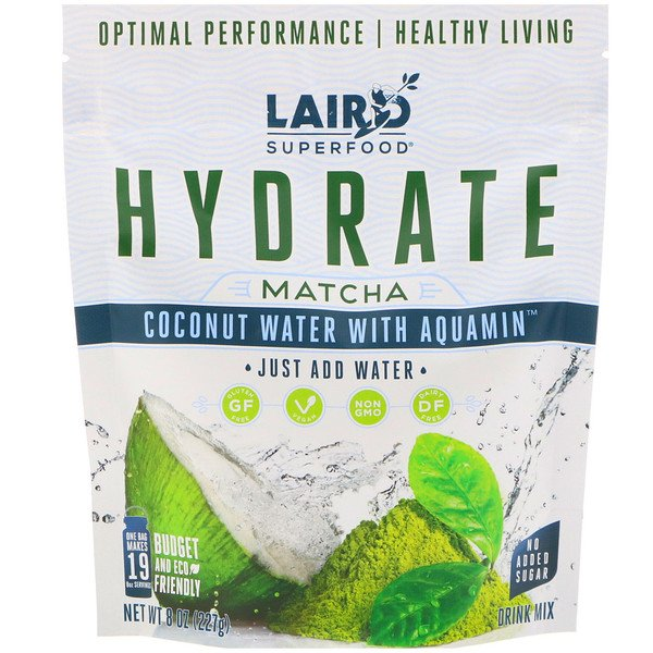 Laird Superfood, Hydrate, Matcha, Coconut Water with Aquamin, 8 oz (227 g) (Discontinued Item)