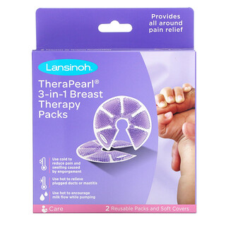 Lansinoh, TheraPearl, 3-in-1 Breast Therapy, 2 Reusable Packs and Soft Covers