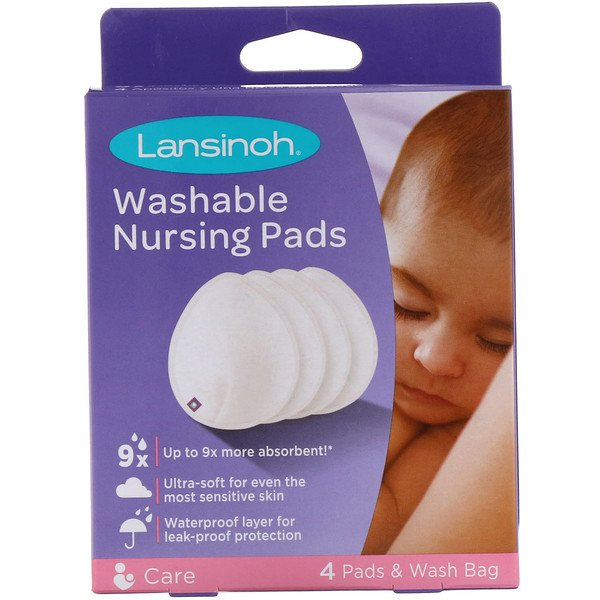 Lansinoh, Washable Nursing Pads, 4 Pads & Wash Bag