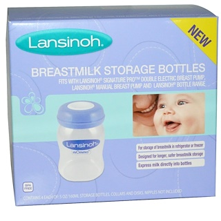 Lansinoh, Breastmilk Storage Bottles, 4 Bottles, 5 oz (160 ml) Each
