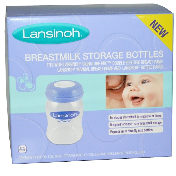 Lansinoh, Breastmilk Storage Bottles, 4 Bottles, 5 oz (160 ml) Each (Discontinued Item)