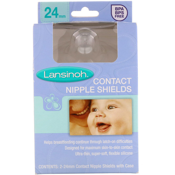 Lansinoh, Contact Nipple Shields with Case, 2 Pack 2-24 mm