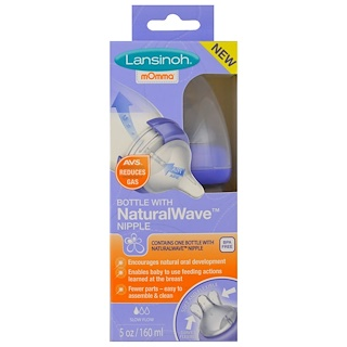 Lansinoh, Natural Wave Nipple Bottle, Slow Flow, 5 oz (160 ml)