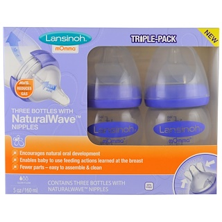 Lansinoh, Natural Wave Nipple Bottles, Slow Flow, 3 Bottles, 5 oz (160 ml) Each