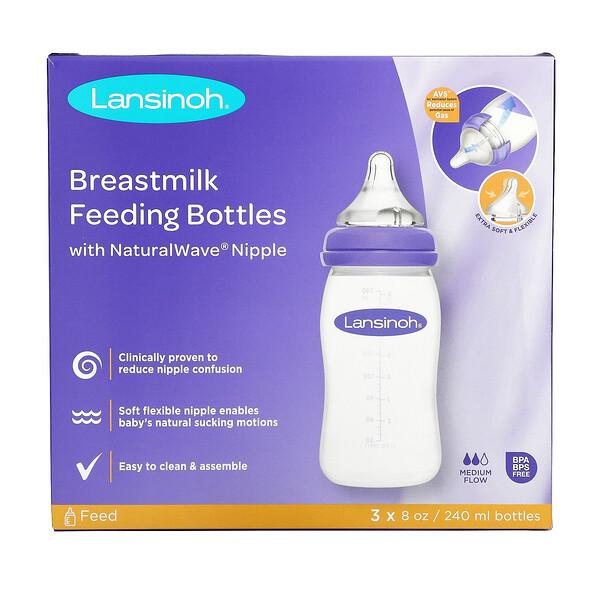 Breastmilk Feeding Bottles with NaturalWave Nipple, Medium Flow, 3 Bottles, 8 oz (240 ml) Each