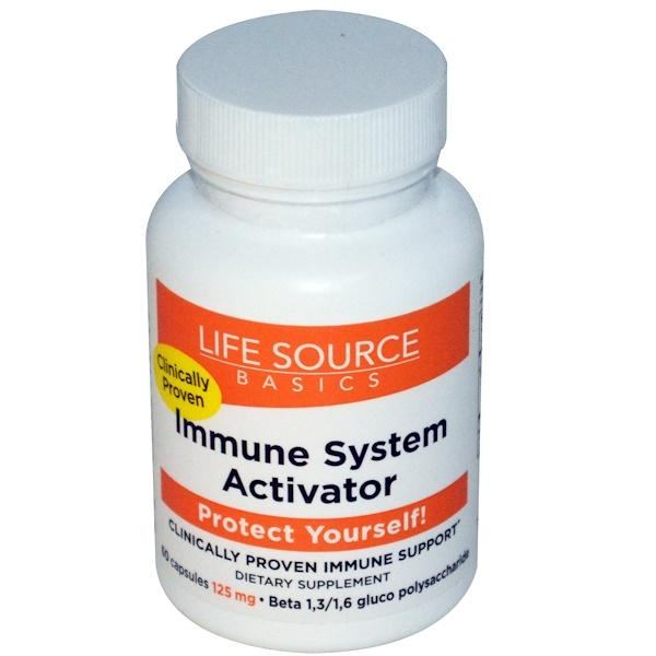 Life Source Basics (WGP Beta Glucan), Активатор иммунной системы, 125 мг, 60 капсул (Discontinued Item)