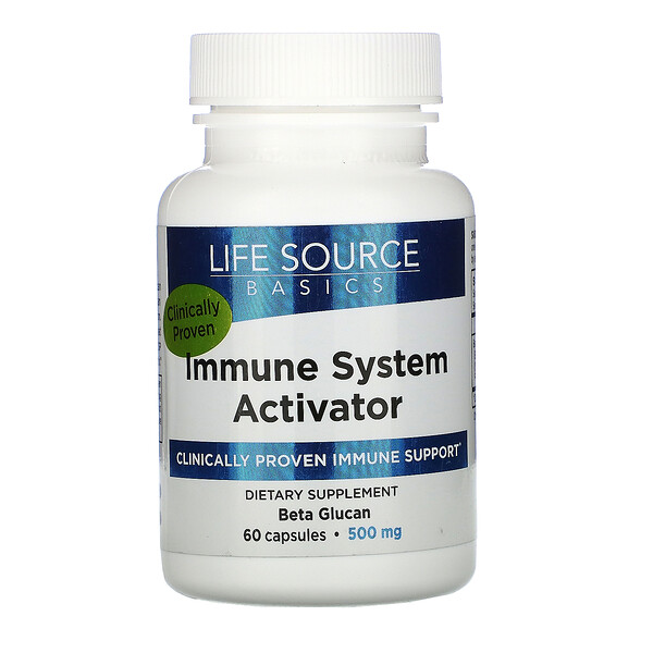 Life Source Basics (WGP Beta Glucan), Immune System Activator, 500 mg, 60 Capsules