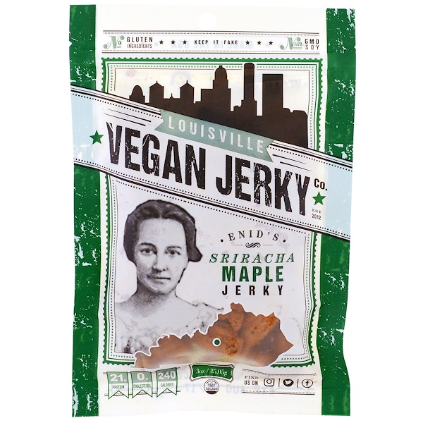 Louisville Vegan Jerky Co, Enid's Sriracha Maple, 3 oz (85.05 g) (Discontinued Item)