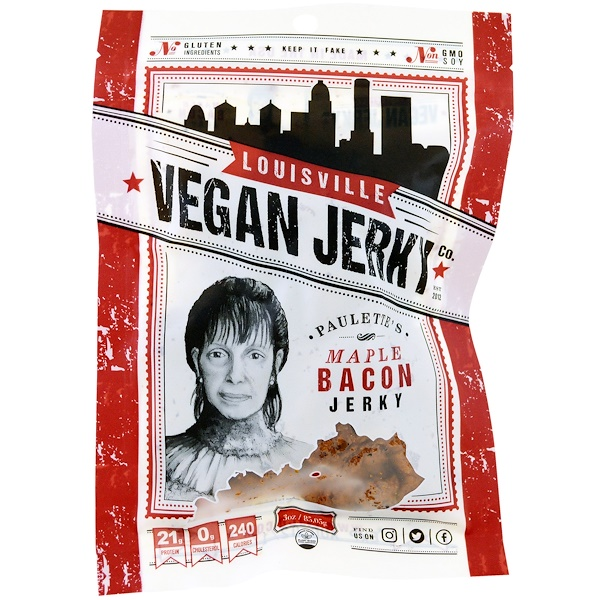 Louisville Vegan Jerky Co, Vegan Jerky,波萊特的楓糖豬肉條,3 oz (85、05 g)