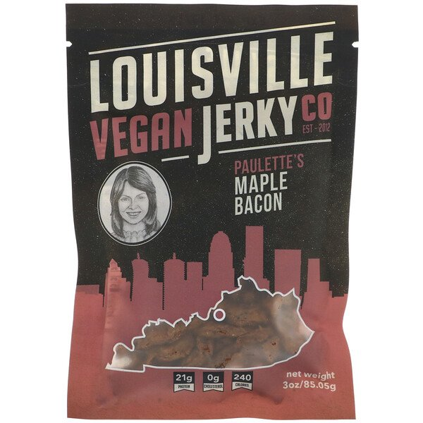 Louisville Vegan Jerky Co, Paulette's Maple Bacon, 3 oz (85.05 g) (Discontinued Item)