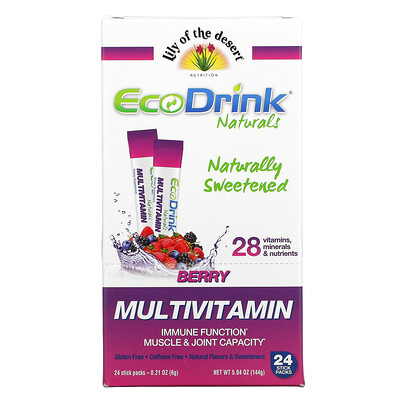 Lily of the Desert EcoDrink Naturals, Multivitamin Drink Mix, Berry, 24 Stick Packs, 0.21 oz (6 g) Each