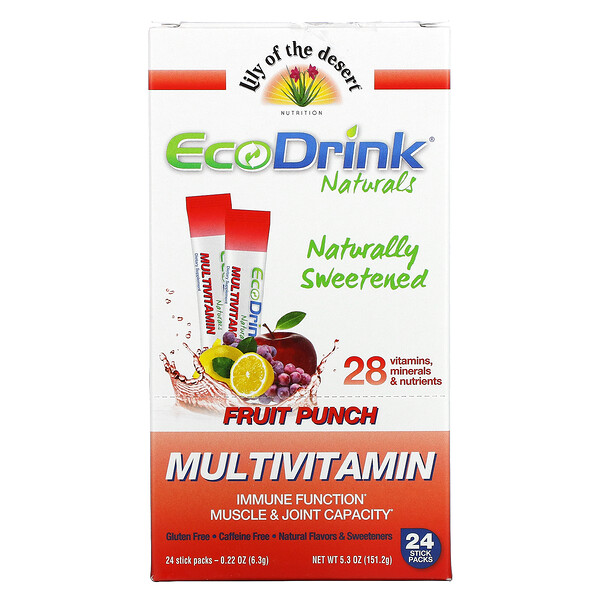 EcoDrink Naturals, Multivitamin Drink Mix, Fruit Punch, 24 Stick Packs, 0.22 oz (6.3 g) Each
