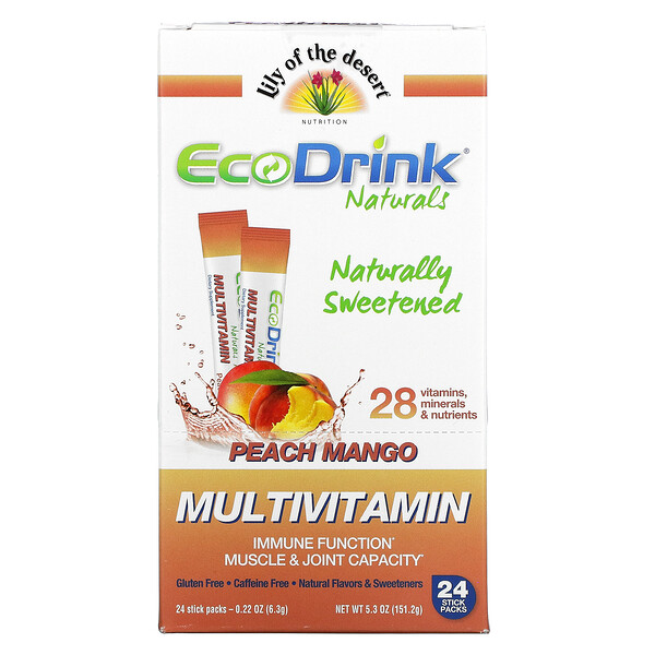 EcoDrink Naturals, Multivitamin Drink Mix, Peach Mango, 24 Stick Packs, 0.22 oz (6.3 g) Each