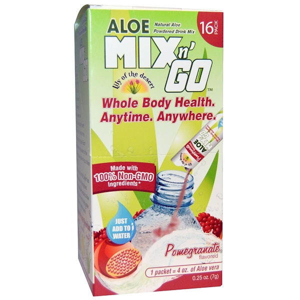 Lily of the Desert, Aloe Mix n' Go, Natural Aloe Powdered Drink Mix. Pomegranate Flavored, 16 Packs, 0.25 oz (7 g) Each (Discontinued Item)