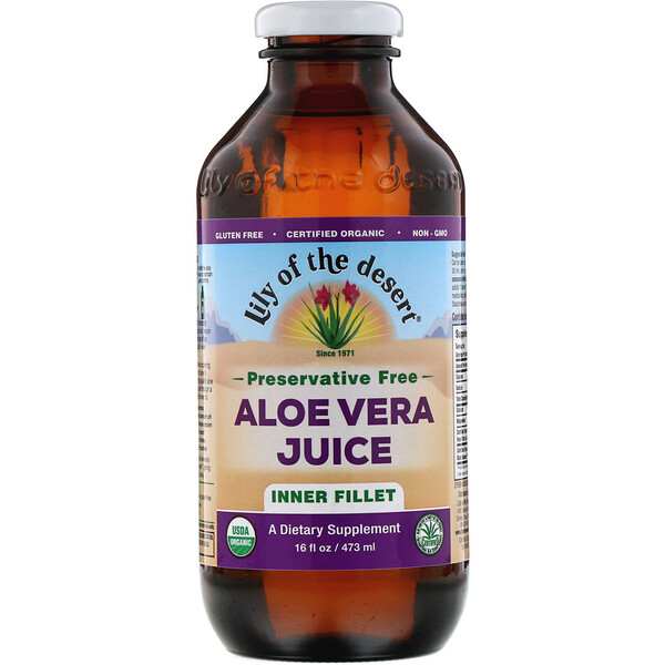 Organic Aloe Vera Juice, Inner Fillet, 16 fl oz (473 ml)