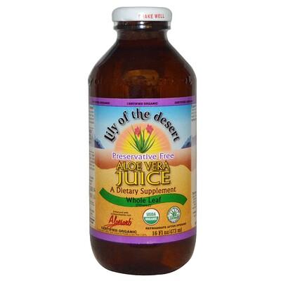 Купить Lily of the Desert Organic, Aloe Vera Juice, Whole Leaf, 16 fl oz