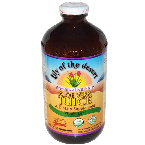 Lily of the Desert, Organic, Aloe Vera Juice, Whole Leaf, 32 fl oz (946 ml) (Discontinued Item)