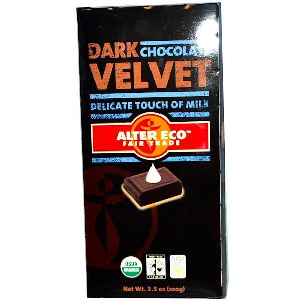 Alter Eco, Dark Velvet Chocolate, 3.5 oz (100 g) (Discontinued Item)
