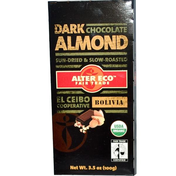 Alter Eco, Темный шоколад с миндалем 3.5 унции (100 г) (Discontinued Item)