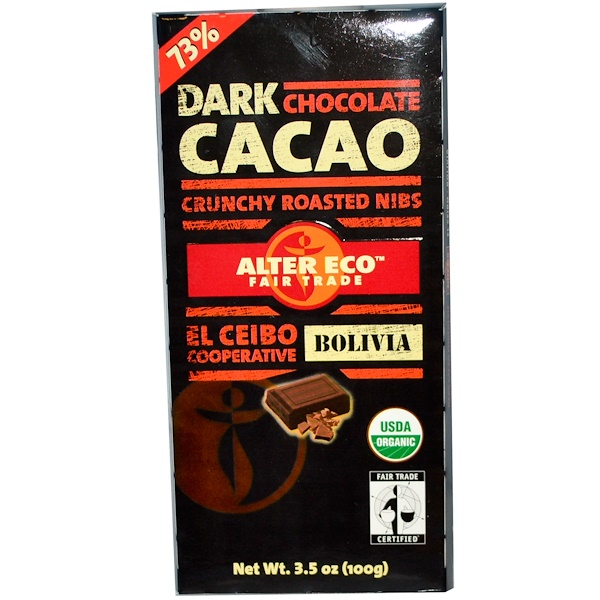 Alter Eco, Dark Cacao Chocolate, 3.5 oz (100 g) (Discontinued Item)