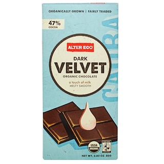 Alter Eco, オーガニックチョコレート, ダークベルベット , 2.82 oz (80 g)