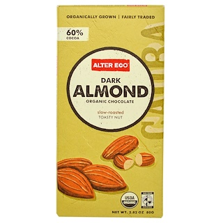 Alter Eco, オーガニックチョコレート, ダークアーモンド, 2.82 オンス (80 g)