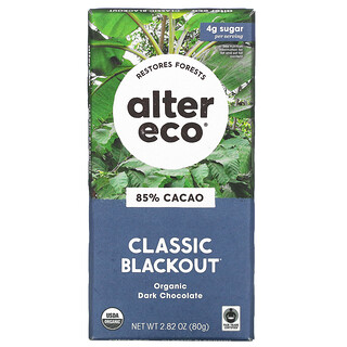 Alter Eco, Organic Dark Chocolate Bar, Classic Blackout, 85% Cocoa, 2.82 oz (80 g)