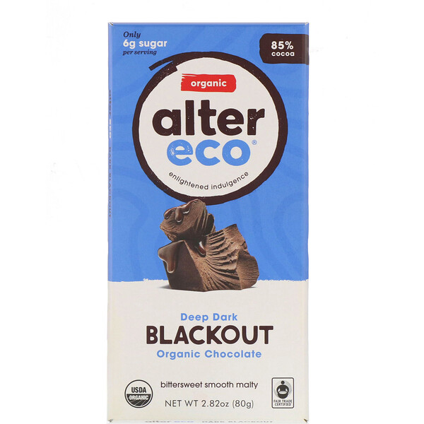 Alter Eco, Organic Chocolate Bar, Deep Dark Blackout, 85% Cocoa, 2.82 oz (80 g)