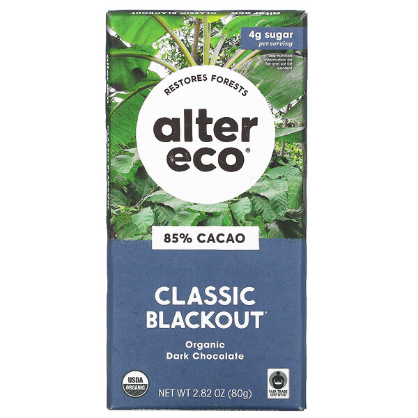 Organic Dark Chocolate Bar, Classic Blackout, 85% Cocoa, 2.82 oz (80 g)