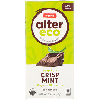 Alter Eco, Organic Chocolate, Deep Dark Crisp Mint, 2.82 oz (80 g)