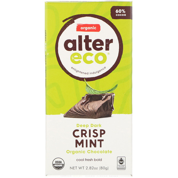 Alter Eco, Barre de chocolat bio - Chocolat noir intense et menthe croustillante, 80g (Discontinued Item)