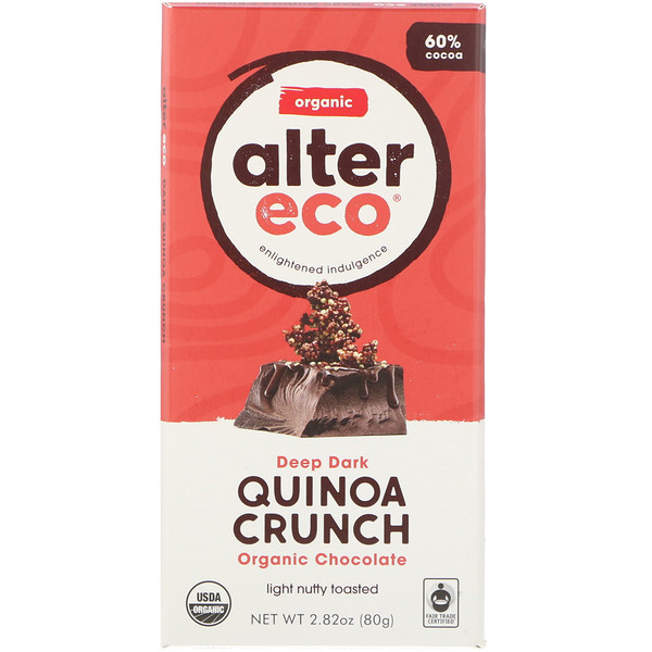 Alter Eco, Organic Chocolate Bar, Deep Dark Quinoa Crunch, 2.82 oz (80 g)