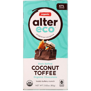 Alter Eco, Organic Chocolate, Dark Salted Coconut Toffee, 2.82 oz (80 g)