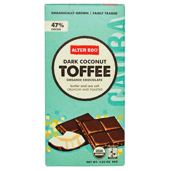 Alter Eco,  Organic Chocolate, Dark Coconut Toffee, 2.82 oz (80 g)