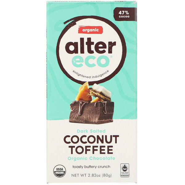 Alter Eco, Organic Chocolate Bar, Dark Salted Coconut Toffee, 2.82 oz (80 g)