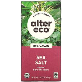 Alter Eco, Organic Dark Chocolate Bar, Sea Salt, 70% Cacao, 2.82 oz (80 g)