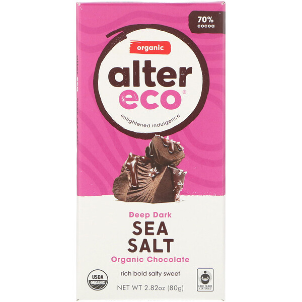 Alter Eco, Organic Chocolate Bar, Deep Dark Sea Salt, 70% Cocoa, 2.82 oz (80 g)