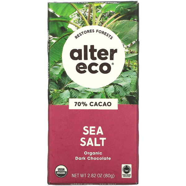 Organic Dark Chocolate Bar, Sea Salt, 70% Cacao, 2.82 oz (80 g)