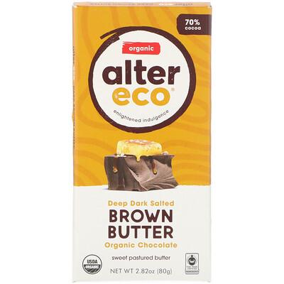 Organic Chocolate Bar, Deep Dark Salted Brown Butter, 70% Cocoa, 2.82 oz (80 g)