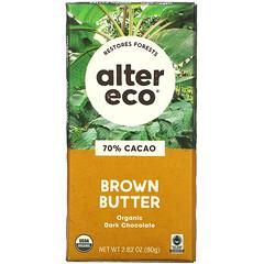 Alter Eco, 有機黑巧克力,褐色黃油,70% 可可,2.82 盎司(80 克)