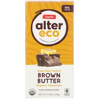 Alter Eco, Organic Chocolate Bar, Deep Dark Salted Brown Butter, 2.82 oz (80 g)