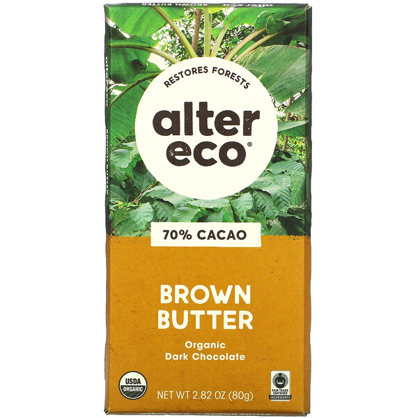 Alter Eco, Organic Dark Chocolate,  Brown Butter, 70% Cacao, 2.82 oz (80 g)
