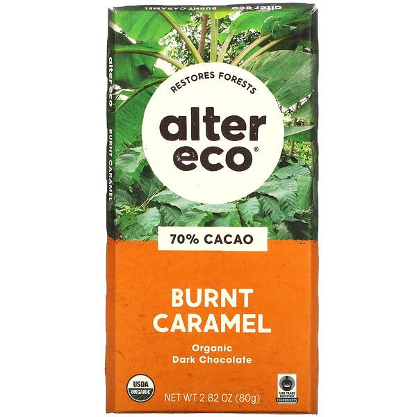 Organic Dark Chocolate Bar, Burnt Caramel, 70% Cacao, 2.82 oz (80 g)