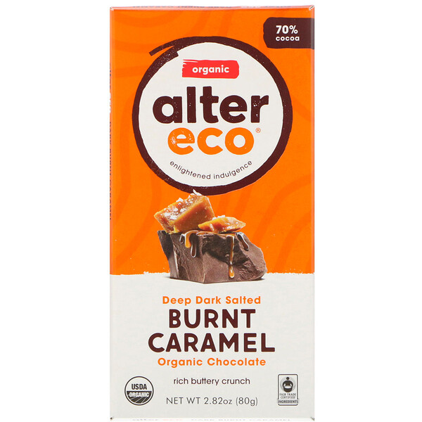 Alter Eco, Organic Chocolate Bar, Deep Dark Salted Burnt Caramel, 70% Cocoa, 2.82 oz (80 g)