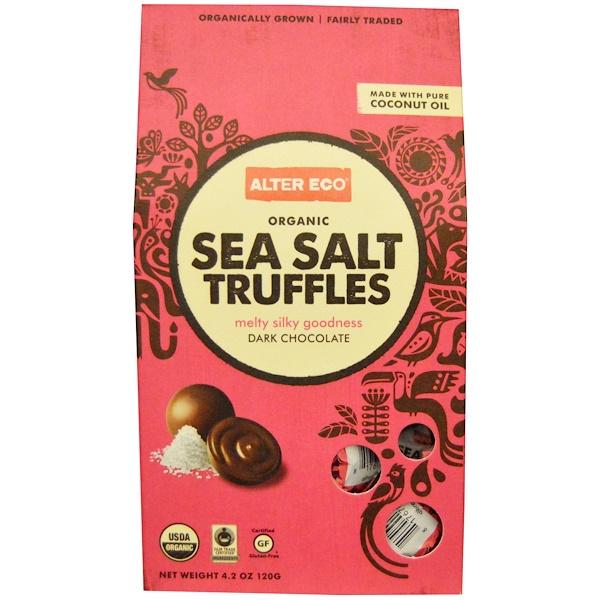 Alter Eco, Organic Sea Salt Truffles, Dark Chocolate, 4、2 oz (120 g)