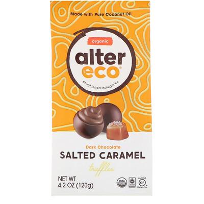 Органические соленые трюфели с карамелью, темный шоколад, 4,2 унции (120 г)