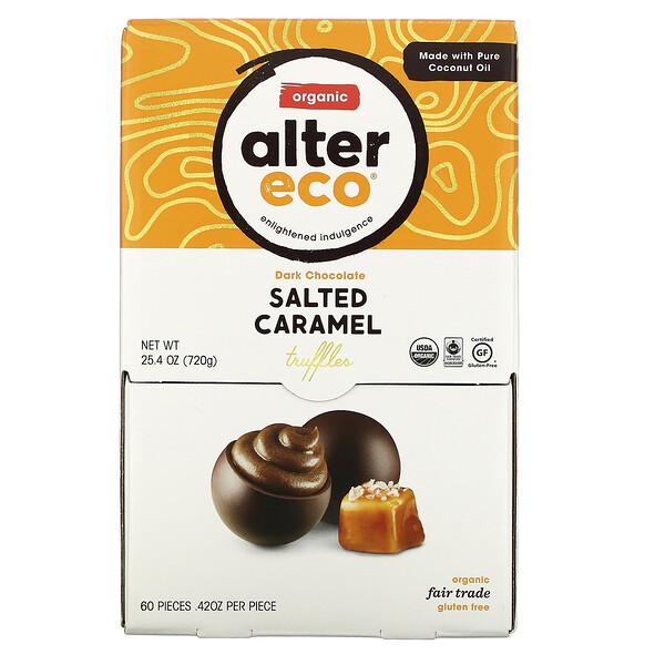 Organic Dark Chocolate Truffles, Salted Caramel, 60 Pieces, .42 oz Each